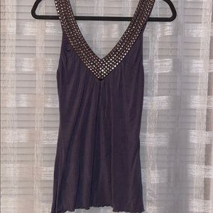 Gray Tank Top with Studded Neckline